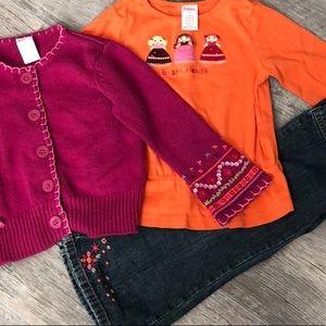 3 Pc. Gymboree Jeans Shirt Sweater Lot Size 4